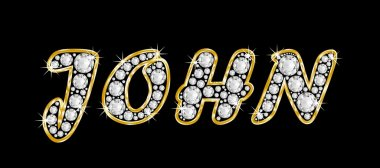 The name John spelled in bling diamonds, with shiny, brilliant golden frame