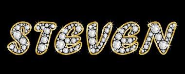 The name Steven spelled in bling diamonds, with shiny, brilliant golden frame