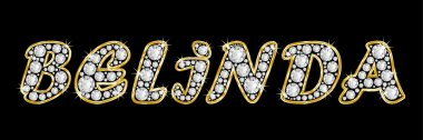 The name Belinda spelled in bling diamonds, with shiny, brilliant golden frame
