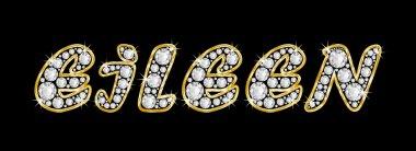 The name Eileen spelled in bling diamonds, with shiny, brilliant golden frame