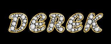 The name Derek spelled in bling diamonds, with shiny, brilliant golden frame