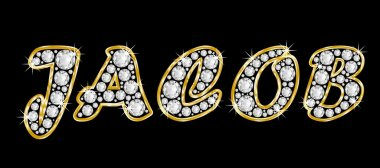 The name Jacob spelled in bling diamonds, with shiny, brilliant golden frame