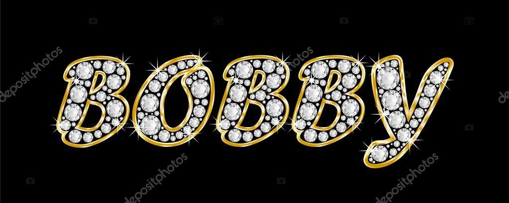 el bobby nombre deletreado en diamantes de joyas, con marco dorado ...