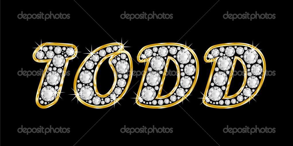 el nombre se escribe todd en diamantes de joyas, con marco dorado ...