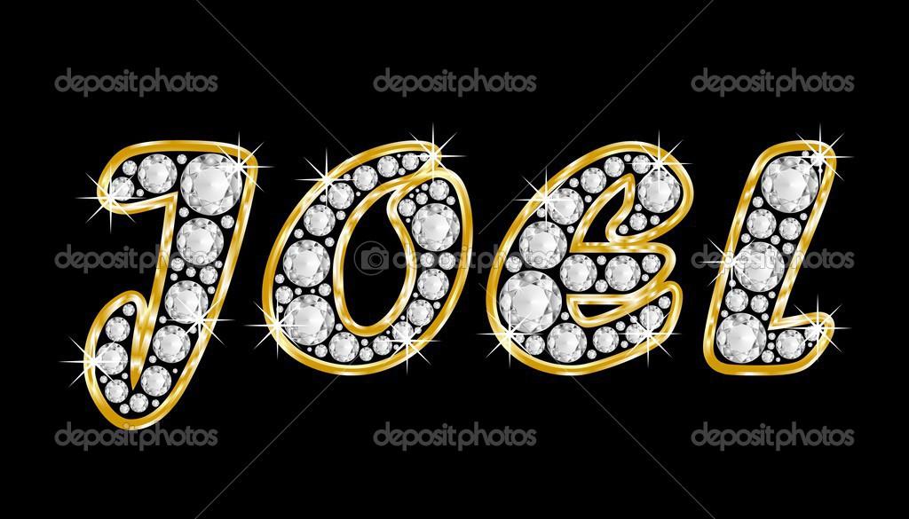 el nombre joel escribe en diamantes de joyas, con marco dorado ...