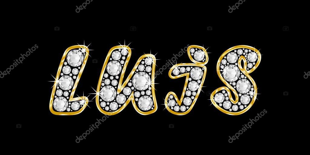 el nombre luis escrito en diamantes de joyas, con marco dorado ...