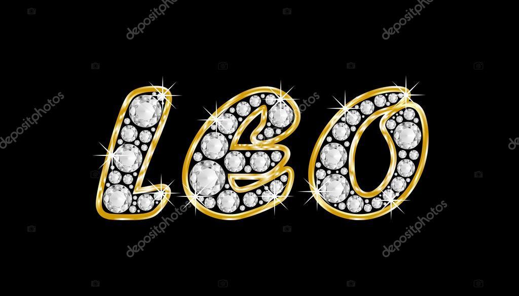 el nombre leo escrito en diamantes de joyas, con marco dorado ...