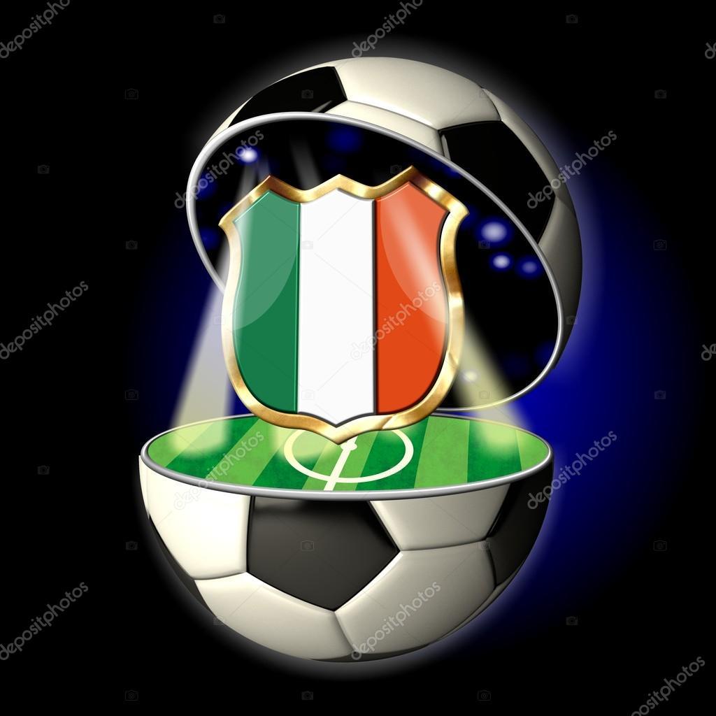 Offnen Sie Fussball Mit Wappen Von Italien Stockfoto