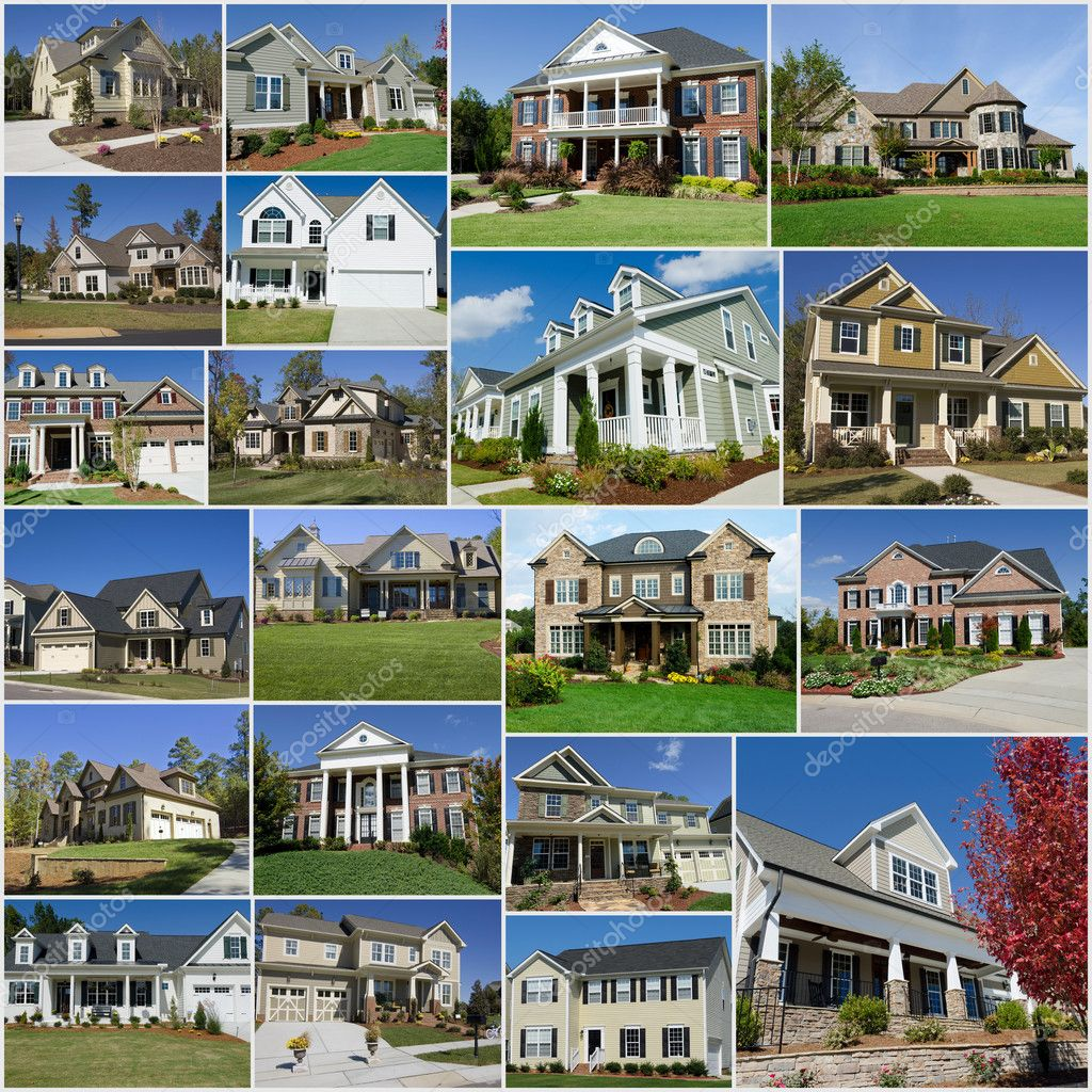 Suburban houses collage stock editorial photo for Country house com