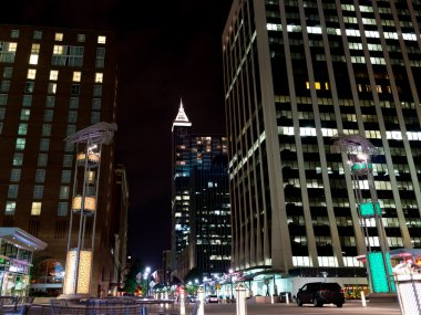 Night scene of american city downtown. Raleigh, NC
