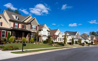 Street of large suburban homes