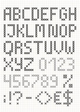 Cross stitch english uppercase alphabet