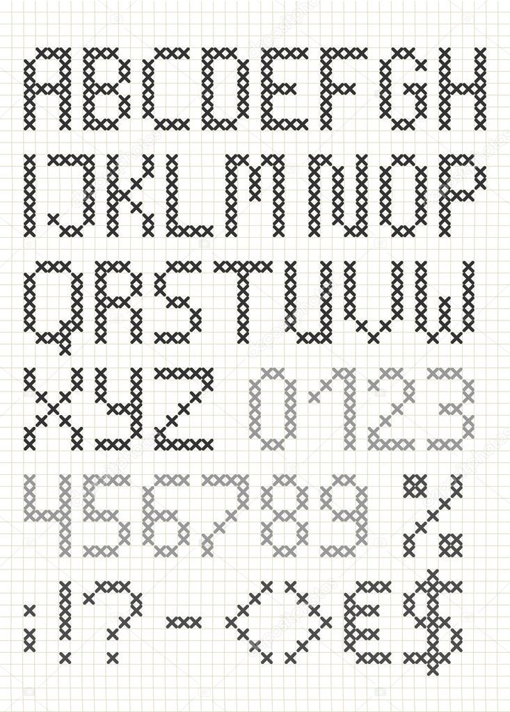 kruissteek hoofdletters engels alfabet — stockvector © milta #34064457