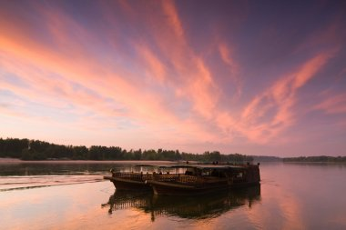 barge at evening sky