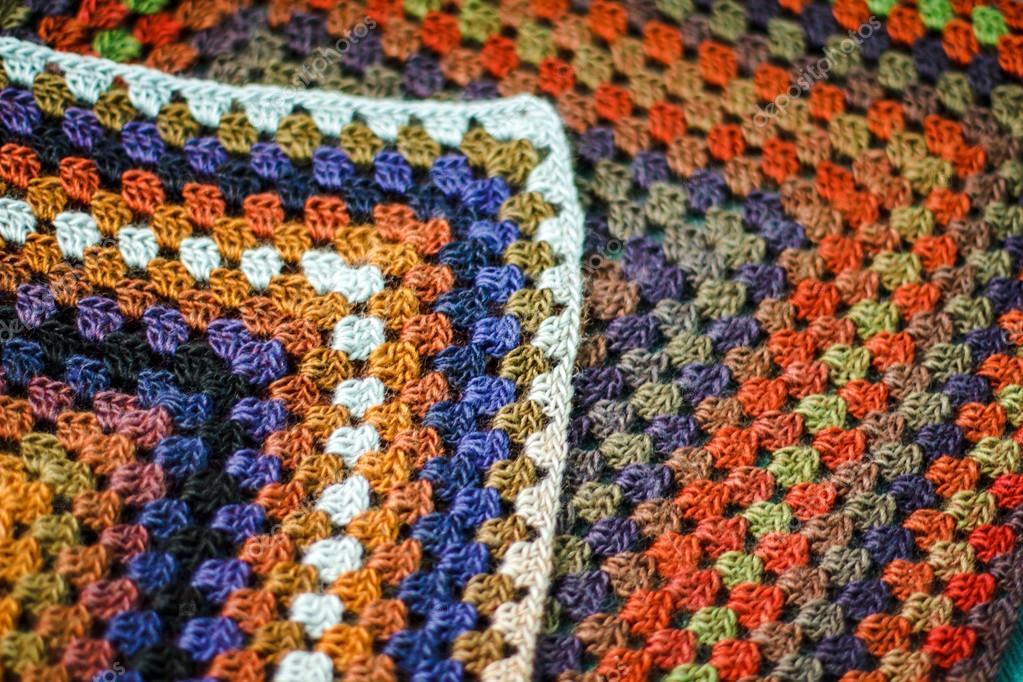 Handarbeit Häkeln Mehrfarbige Afghan Decke Aus Granny Squares
