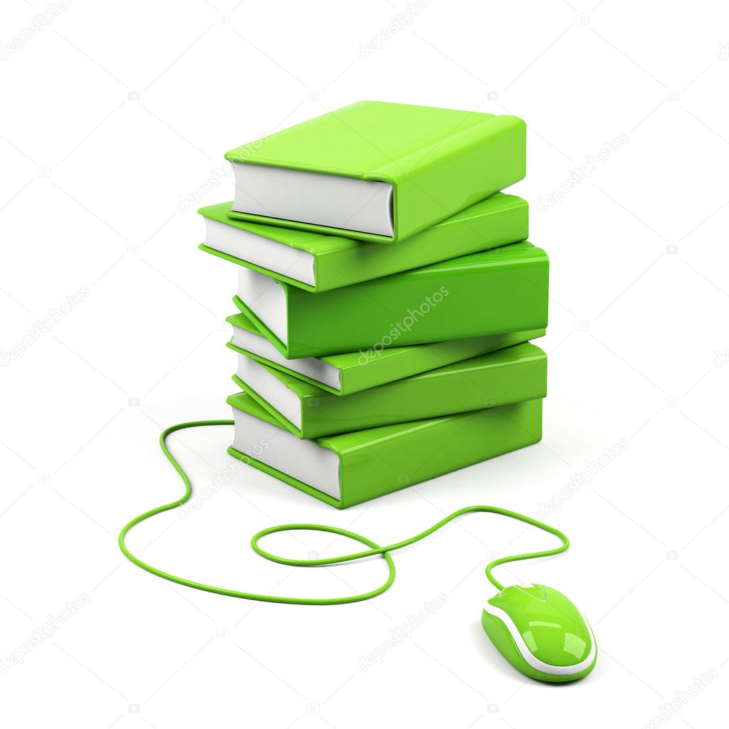 Computer mouse and books - e-learning concept. 3d image.