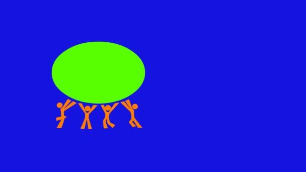 čtyři a dva pohyblivé obrázky a text. zelená obrazovka