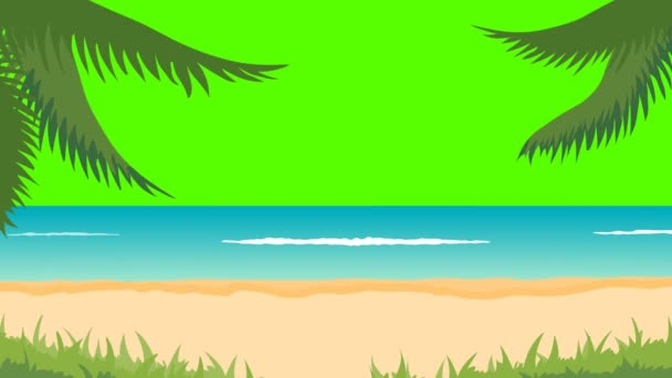 Animation of tropical landscape - beach, sea, waves, palms. Green screen