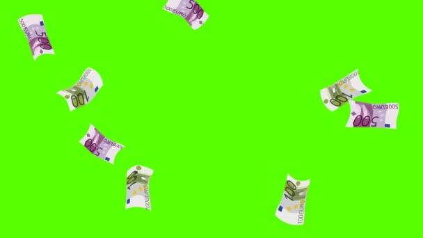 EURO money rain. Green screen