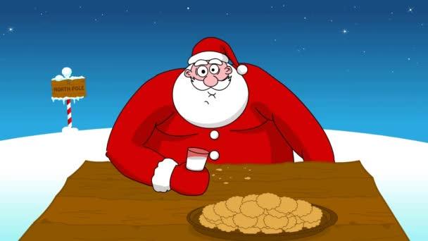 Big fat Santa Claus eating cookies and drinking milk.