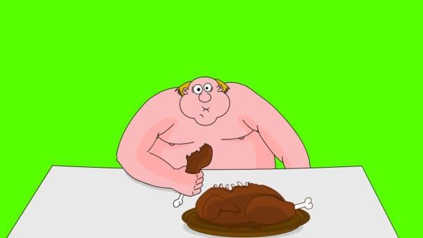 velký tlustý člověk jíst kachna. zelená obrazovka