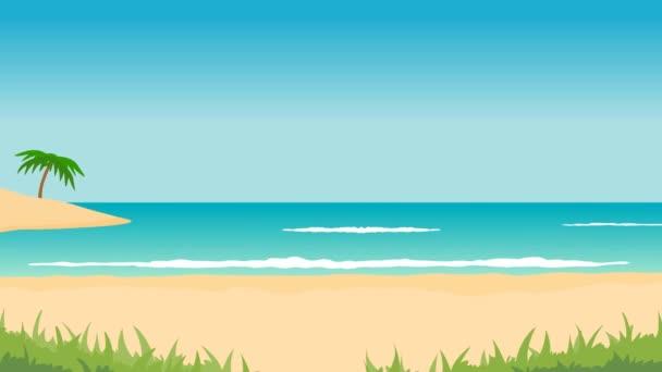 animazione del paesaggio tropicale - spiaggia, mare, onde, palme. aereo Air e schermo verde