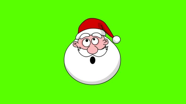 Funny Santa Claus head - different face. Green screen