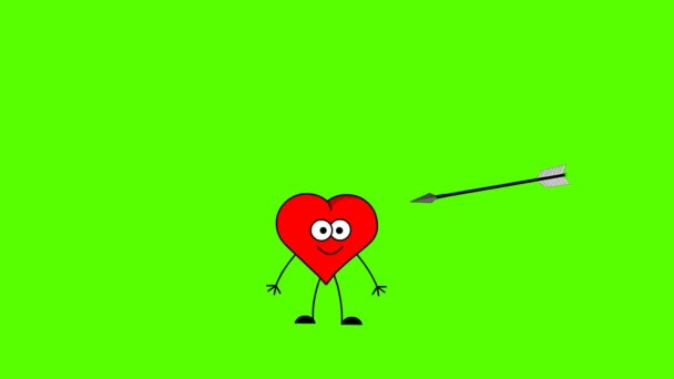Arrow killing heart. Green screen