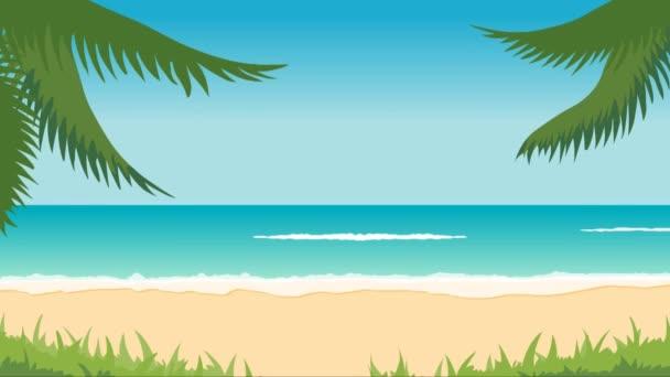 animazione del paesaggio tropicale - spiaggia, mare, onde, palme.