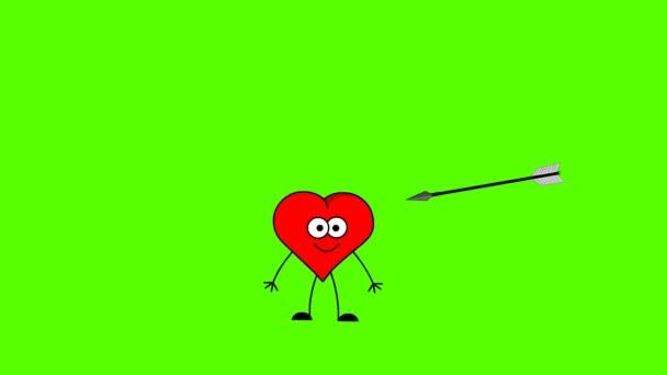 šipka zabíjení srdce. zelená obrazovka