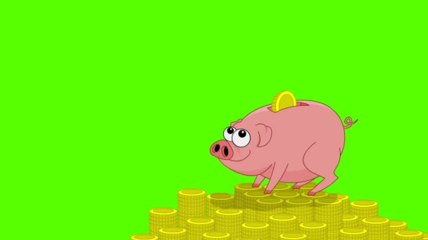 Pink pig money box and falling coins. Green screen