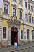 die schönen Renaissance-Dekore über dem Eingangstor ins Museum in Görlitz, Deutschland