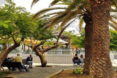Central square in Tazacorte town, La Palma island, Canary, Spain