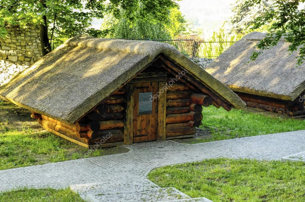 Traditional wooden cottage house in skansen in bedzin poland stock photo gadzius 46968171 - Traditional polish houses wood mastership ...