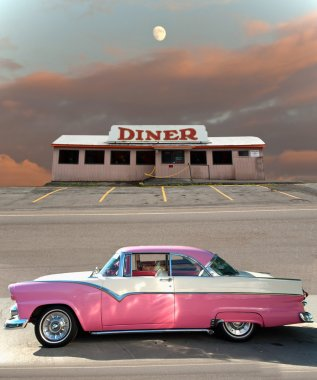 classic car and diner