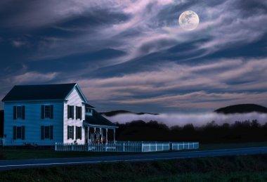 rural home at night