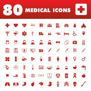 A set of eighty unique icons with medical themes. stock vector