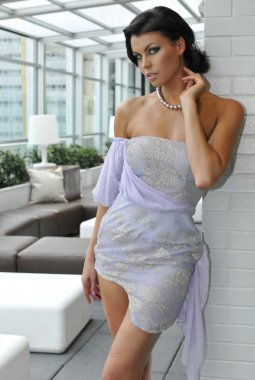 Portrait of model wearing couture designer gown