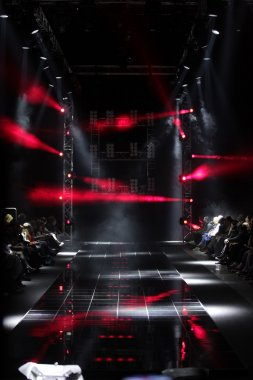 MOSCOW - APRIL 08: Creative lights on runway at the Dmitri Loginov Fall Winter 2012 runway presentation during Volvo Fashion Week on April 08, 2012 in Moscow, Russia