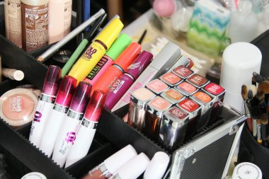 NEW YORK, NY - FEBRUARY 15: Maybellyne cosmetic products backstage at the J. Mendel Fall 2012 fashion show during Mercedes-Benz Fashion Week at The Theatre at Lincoln Center