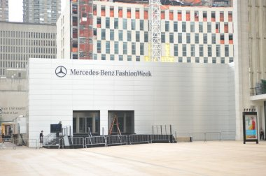 NEW YORK, NY - SEPTEMBER 04 : A front entrance at tents during Mercedes-Benz Fashion Week at Lincoln Center on September 04, 2012 in New York City