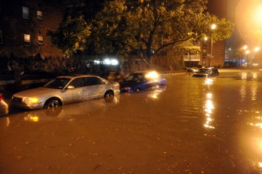 Flooded cars, caused by Hurricane Sandy