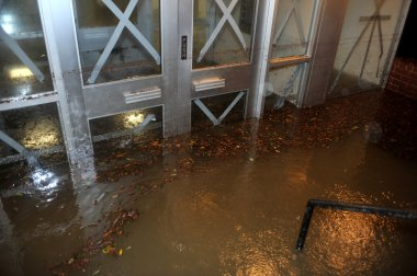Flooded building entrance, caused by Hurricane Sandy