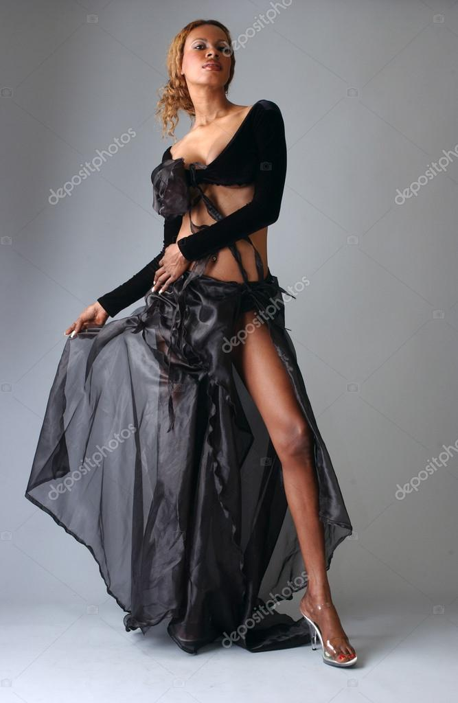 bc9b17abc8b Beautiful African American model posing wearing fashionable dresses– stock  image
