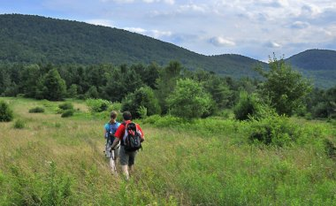 Hikers in Catskill mountains, upstate New York