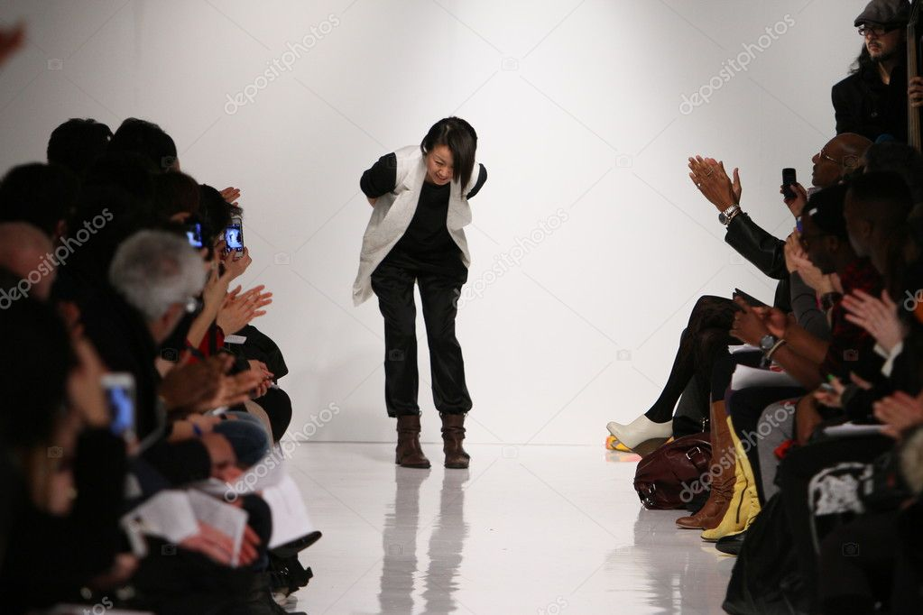 NEW YORK, NY - FEBRUARY 07: Designer Natsuko Kanno walks the runway at the 4 Corners of a Circle fall 2013 fashion show during Mercedes-Benz Fashion Week on February 7, 2013 in New York City.