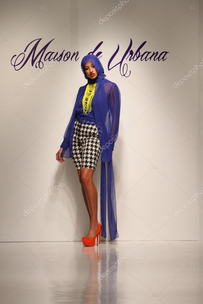 NEW YORK, NY- FEBRUARY 07: A model walks the runway at Urbana Chappa ...