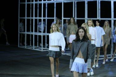 Models walk runway finale at Alexander Wang show