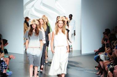 Models walk the runway finale at Tibi show