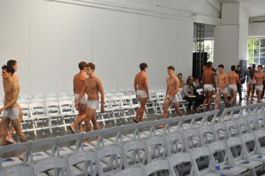 Male models during rehearsal before Parke & Ronen show
